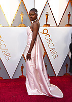 Danai Gurira arrives at the Oscars on Sunday, March 4, 2018, at the Dolby Theatre in Los Angeles. (Photo by Jordan Strauss/Invision/AP)