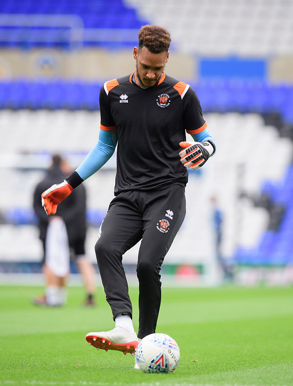 Blackpool's Christoffer Mafoumbi during the pre-match warm-up<br /> <br /> Photographer Chris Vaughan/CameraSport<br /> <br /> The EFL Sky Bet League One - Coventry City v Blackpool - Saturday 7th September 2019 - St Andrew's - Birmingham<br /> <br /> World Copyright © 2019 CameraSport. All rights reserved. 43 Linden Ave. Countesthorpe. Leicester. England. LE8 5PG - Tel: +44 (0) 116 277 4147 - admin@camerasport.com - www.camerasport.com