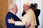 Palestinian President Mahmoud Abbas meets with Pope Francis at the Vatican, on December 3, 2018. Photo by Thaer Ganaim