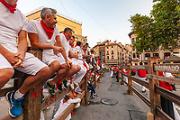 Europe,Spain,Pamplona,San Firmin festival 2018, Encierro, supporters ready to see the bulls ride