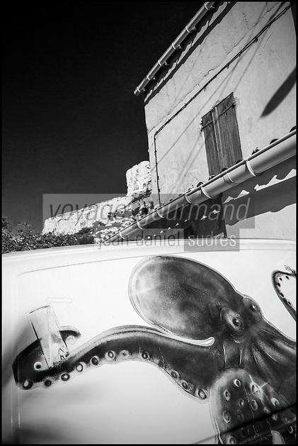 France, Bouches-du-Rhône (13), Marseille, capitale européenne de la culture 2013, Callelongue (Parc National des Calanques depuis le 18/04/2012), poulpe peint sur une voiture et cabanon   // France, Bouches du Rhone, Marseille, european capital of culture 2013, Callelongue (Calanques National Park since 2012/04/18)