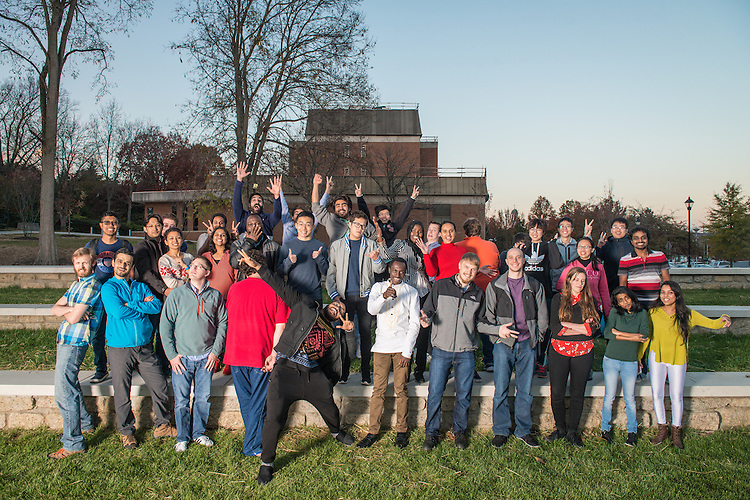 Ohio University Mathematics grad students pose for a group portrait near Morton Hall on November 15, 2016.