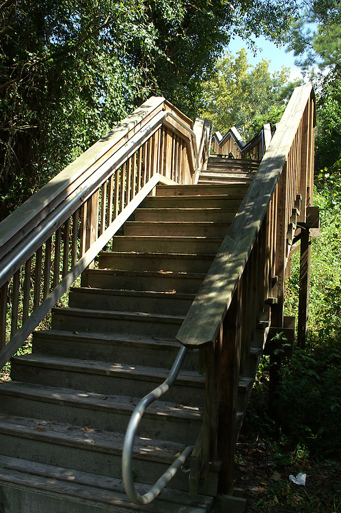 Wooden stairs lead up from White Springs.