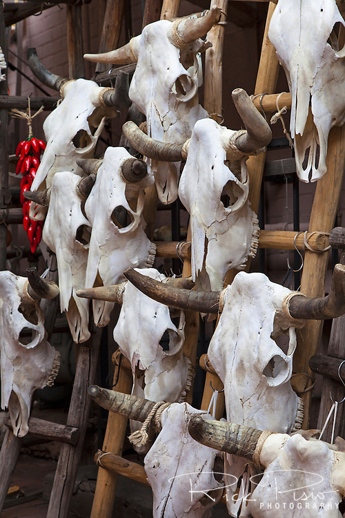 Steer skulls are displayed outside a shop along the Plaza in Santa Fe, New Mexico