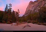 Mirror Lake and Ahwiyah Point at Last Light in Autumn, Yosemite National Park