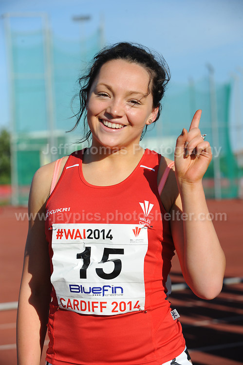 International athletics at Cardiff International stadium, Cardiff, South Wales - Tuesday 15th July 2014<br /> <br /> Shannon Malone of Deeside AAC (U20W) winner of the Women's 100m final(B) race. <br /> <br /> <br /> Photo by Jeff Thomas Photography