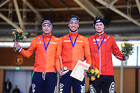 SPEEDSKATING: BERLIN: Sportforum Berlin, 28-01-2017, ISU World Cup, Podium 1000m Men A Division, Kai Verbij (NED), Kjeld Nuis (NED), Håvard Holmefjord  Lorentzen (NOR), ©photo Martin de Jong