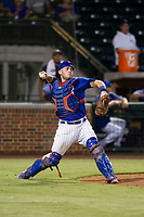 AZL Cubs catcher Marcus Mastrobuoni (5) prepares to throw a ball to second base against the AZL Giants on September 6, 2017 at Sloan Park in Mesa, Arizona. AZL Giants defeated the AZL Cubs 6-5 to even up the Arizona League Championship Series at one game a piece. (Zachary Lucy/Four Seam Images)