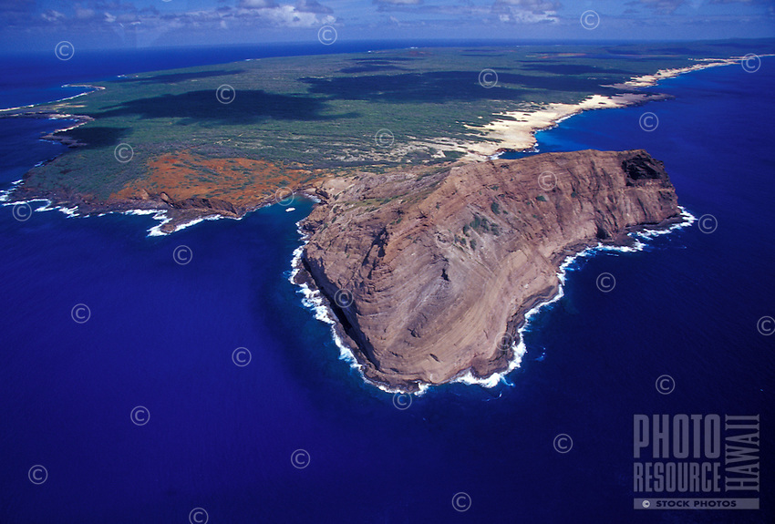 Niihau Coastline seen from the air. Pristine natural coastline, white sand beaches,  reefs, and clear blue water.
