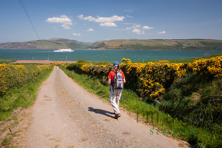 Walking down quiet country road to Portbeg with ferry on Loch Ryan heading into Cairnryan. Scenic coastal walk
