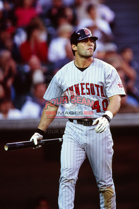 Marty Cordova of the Minnesota Twins during a game against the Anaheim Angels at Angel Stadium circa 1999 in Anaheim, California. (Larry Goren/Four Seam Images)