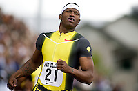 EUGENE, OR--Xavier Carter celebrates his 200 meter win during the Steve Prefontaine Classic, Hayward Field, Eugene, OR. SUNDAY, JUNE 10, 2007. PHOTO © 2007 DON FERIA