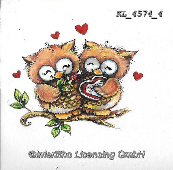 VALENTINE, VALENTIN, paintings+++++,KL4574/4,#v#, EVERYDAY ,sticker,stickers,owl,owls