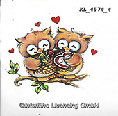 VALENTINE, VALENTIN, paintings+++++,KL4574/4,#v#, EVERYDAY ,sticker,stickers,owl,owls