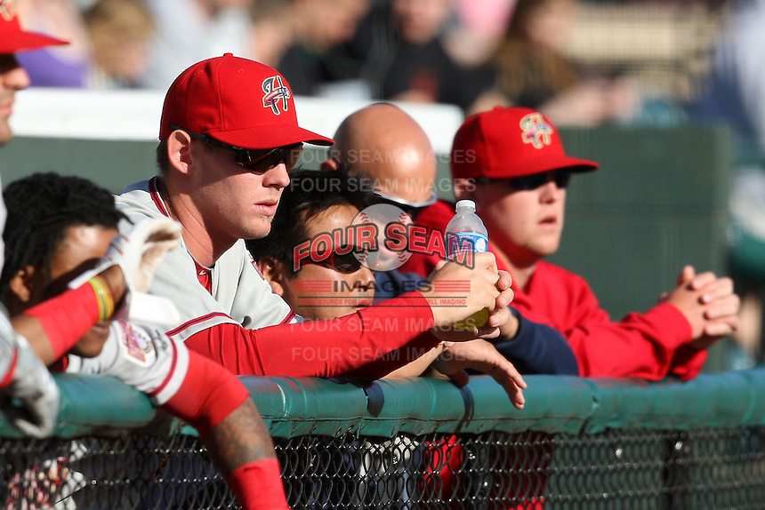 April 10, 2010:  First overall draft pick of the 2009 MLB Draft Stephen Strasburg (37) watches the game with teammates a day before making his professional debut with the Harrisburg Senators, Double-A affilicate of the Washington Nationals, at Blair County Ballpark in Altoona, PA.  Photo By Mike Janes/Four Seam Images