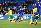 1st December 2017, Cardiff City Stadium, Cardiff, Wales; EFL Championship Football, Cardiff City versus Norwich City; Nelson Oliveira of Norwich City plays the ball into the box under pressure from Junior Hoilett of Cardiff City