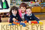 New start for Junior Infants Joe O'Dwyer and Jack Flynn with  Principal Dolores Johnston at  Douglas NS, Killorglin on Friday