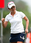 CHON BURI, THAILAND - FEBRUARY 17:  Ai Miyazato of Japan celebrates after a putt on the 5th hole during day two of the LPGA Thailand at Siam Country Club on February 17, 2012 in Chon Buri, Thailand.  Photo by Victor Fraile / The Power of Sport Images