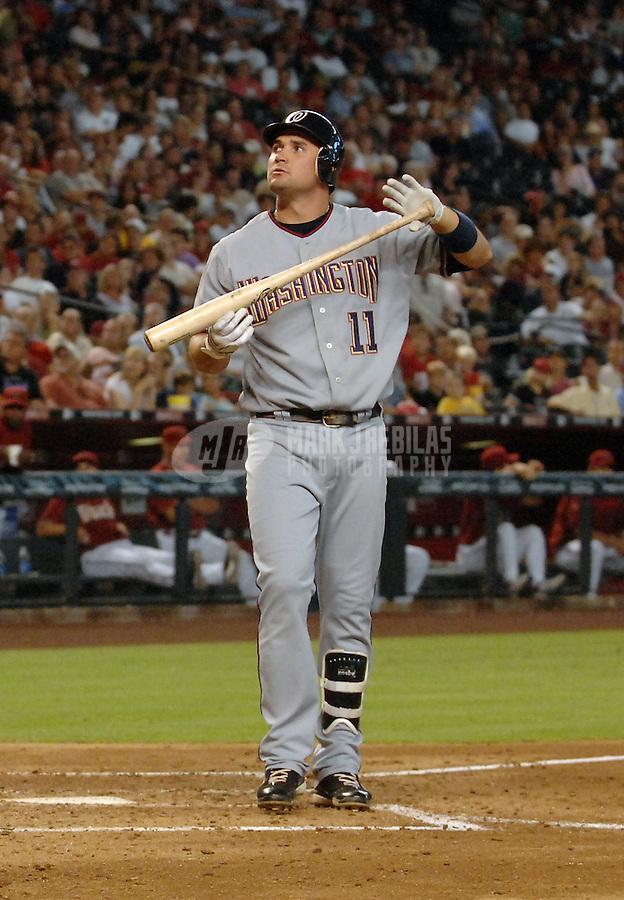 Aug 12, 2007; Phoenix, AZ, USA; Washington Nationals third baseman (11) Ryan Zimmerman against the Arizona Diamondbacks at Chase Field. Mandatory Credit: Mark J. Rebilas