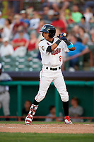 Tri-City ValleyCats center fielder Ramiro Rodriguez (8) at bat during a game against the Vermont Lake Monsters on June 16, 2018 at Joseph L. Bruno Stadium in Troy, New York.  Vermont defeated Tri-City 6-2.  (Mike Janes/Four Seam Images)