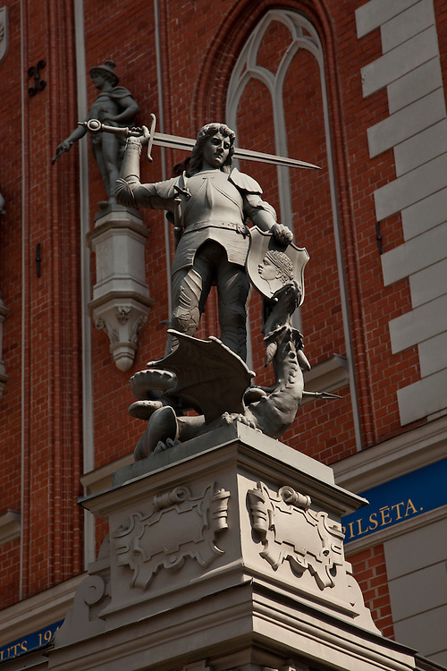 Statue of Legendary 8th Century Knight in Town Hall Square- Riga, Latvia
