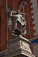 Statue of Legendary 8th Century Knight in Town Hall Square- Riga, Latvia