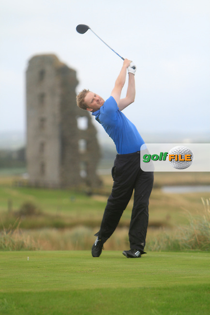 Simon Ward (Co. Louth) on the 13th tee during the South of Ireland Amateur Open Championship Final at Lahinch Golf Club  31th July 2013 <br /> Picture:  Thos Caffrey / www.golffile.ie