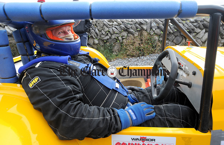 Stephen Gillis about to burn rubber  at Scalp Hill Carron during one of the opening two rounds of the Connaught Competition Engines Irish Hillclimb & Sprint Championship on the annual Clare Motor Club Hillclimb Weekend. Photograph by John Kelly.