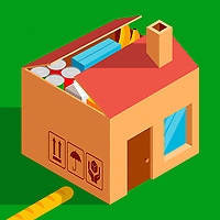 Cardboard box house containing grocery delivery