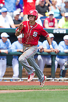 North Carolina State Wolfpack shortstop Trea Turner #8 runs during Game 3 of the 2013 Men's College World Series between the North Carolina State Wolfpack and North Carolina Tar Heels at TD Ameritrade Park on June 16, 2013 in Omaha, Nebraska. The Wolfpack defeated the Tar Heels 8-1. (Brace Hemmelgarn/Four Seam Images)