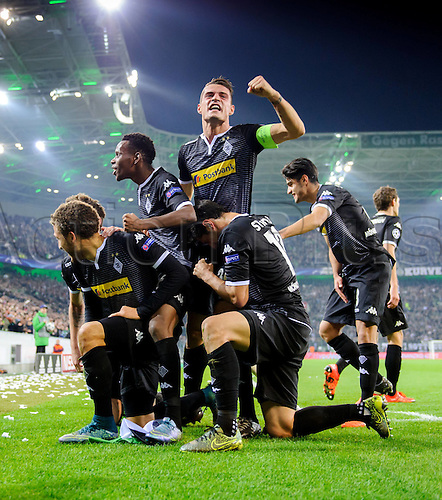 03.11.2015. Moenchengladbach, Germany, UEFA Champions League football group stages. Borussia Moenchangladbach versus Juventus.  Moenchengladbach Players cheer after the game as they win 1-0