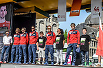 Bahrain-Merida team on stage outside Le Palais des Princes-&Eacute;v&ecirc;ques at the team presentation before the 104th edition of La Doyenne, Liege-Bastogne-Liege 2018, Belgium. 21st April 2018.<br /> Picture: ASO/Karen Edwards | Cyclefile<br /> <br /> <br /> All photos usage must carry mandatory copyright credit (&copy; Cyclefile | ASO/Karen Edwards)
