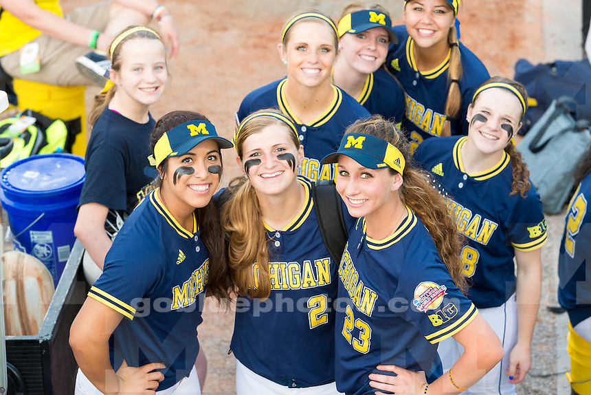The University of Michigan women's softball team;10-4 victory over UCLA in the Second round of the Women's College World Series held at the ASA Hall of Fame Stadium in Oklahoma City,Okla. on 5/29/15.