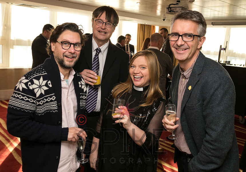 Pictured from left are George Akins of the DHP Family, Andrew Redfearn of Framework, Rev Kate Bottley and Sean Akins of Bildurn