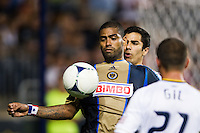 Gabriel Gomez (6) of the Philadelphia Union shields the ball from Tony Beltran (2) of Real Salt Lake. The Philadelphia Union and Real Salt Lake played to a 0-0 tie during a Major League Soccer (MLS) match at PPL Park in Chester, PA, on August 24, 2012.