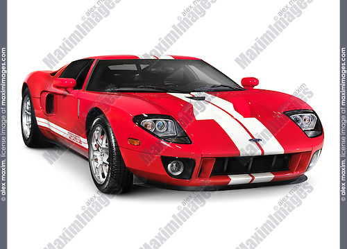 Red   Ford Gt Supercar Sports Car Isolated With Clipping Path On White Background