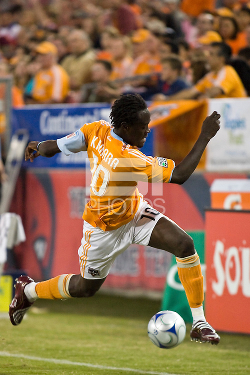 Houston Dynamo forward Kei Kamara (10) advances the ball.  Houston Dynamo tied New York Red Bulls 0-0 at Robertson Stadium in Houston, TX onApril 11, 2009.