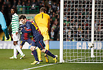 Lionel Messi turns away after scoring a consolation for Barcelona