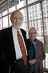 """Actor Fritz Weaver poses with his wife Rochelle as he does a play reading of  """"The Masks"""" from The Twilight Zone"""" by Rod Serling along with Mike Hodge (ATWT), John Martello, Reese Mishler and Kalli Siringas on May 20, 2015 as Food for Thought Productions presents it at the 3 West Club, New York City, New York. It is their 15th Year Anniversary. Anne Serling daughter of Rod Serling read from her book """"As I Knew Him My Dad - Rod Serling"""" (Photos by Sue Coflin/Max Photos)"""