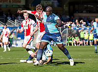 Adebayo Akinfenwa of Wycombe Wanderers during the Sky Bet League 2 match between Wycombe Wanderers and Cheltenham Town at Adams Park, High Wycombe, England on the 8th April 2017. Photo by Liam McAvoy.