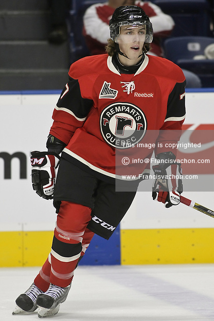 QMJHL (LHJMQ) hockey profile photo on Quebec Remparts Hubert Lamarre September 30, 2012 at the Colisee Pepsi in Quebec city.