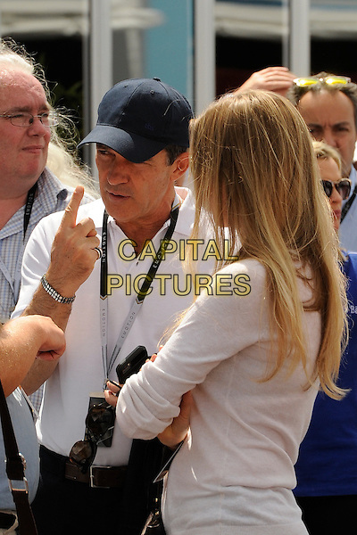 LONDON , ENGLAND - 27 JUNE ; Antonio Banderas and Nicole Kimpel at The Formula F1 E  ePrix at Battersea Park London , England , 27th June 2015<br /> CAP/DYL<br /> &copy;Dylan/Capital Pictures