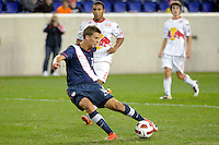 Marc Pelosi (11) of the USA shoots and scores. The USMNT U-17 defeated New York Red Bulls U-18 4-1 during a friendly at Red Bull Arena in Harrison, NJ, on October 09, 2010.