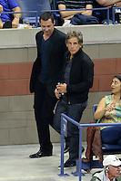 FLUSHING NY- SEPTEMBER 06: Ben Stiller and Hugh Jackmanare seen watching Novak Djokovic Vs Jo Wilfred Tsonga on Arthur Ashe Stadium at the USTA Billie Jean King National Tennis Center on September 6, 2016 in Flushing Queens. Credit: mpi04/MediaPunch