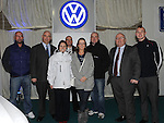 The Staff of Western Motors, Derek Brady, Simon McCormack, Liam Gillispie, Aidan Reynolds, Alan Gerrard and Peter McEvoy who had their heads shaved after the Southgate motor show, Also in photo Helen Mooney and SJ McCloskey. Photo: Colin Bell/pressphotos.ie