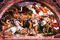 "Vatican:  Raphael's Rooms--""A Meeting  of St. Leo the Great and Attila"",  a fresco by Raphael in a reception room (Heliodorus) of the Palace of the Vatican."