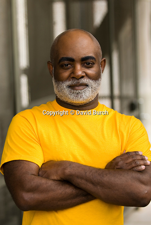African American man, portrait, serious, waist up