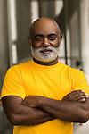 African American man, portrait, serious, waist up