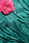 Pink Flower Blue Silk 01 - Turquoise blue layered silk shawl and pink silk flower.