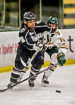 13 November 2015: Providence College Friar Defender Arianna Reid, a Junior from Lakeville, MN, in action against the University of Vermont Catamounts at Gutterson Fieldhouse in Burlington, Vermont. The Lady Friars defeated the Lady Cats 4-1 in Hockey East play. Mandatory Credit: Ed Wolfstein Photo *** RAW (NEF) Image File Available ***